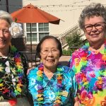 This trio of Betsy Lewis, Sako Takakuwa and Ruth Ann Burgess won a shared golden pineapple from the Town Center!